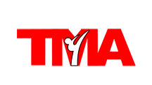 Omaha ATA logo with figure doing side kick in white and red
